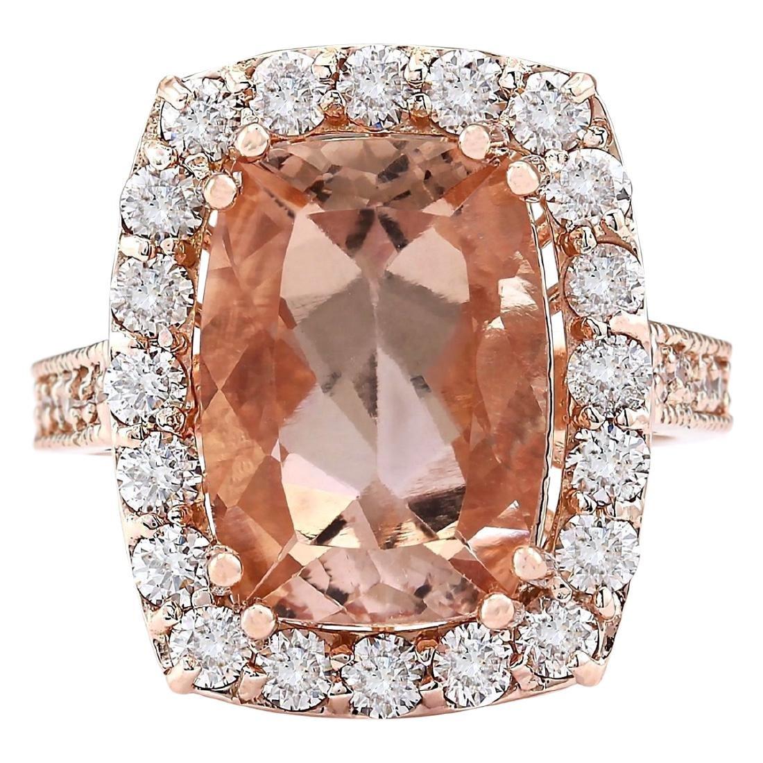 8.31 CTW Natural Morganite And Diamond Ring In 18K Rose