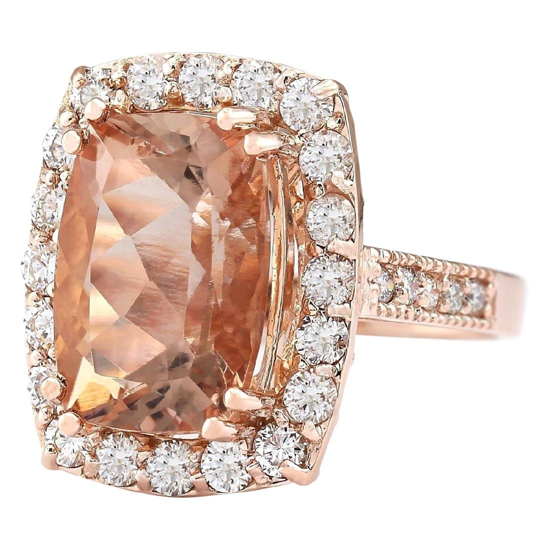 8.31 CTW Natural Morganite And Diamond Ring In 18K Rose - 2