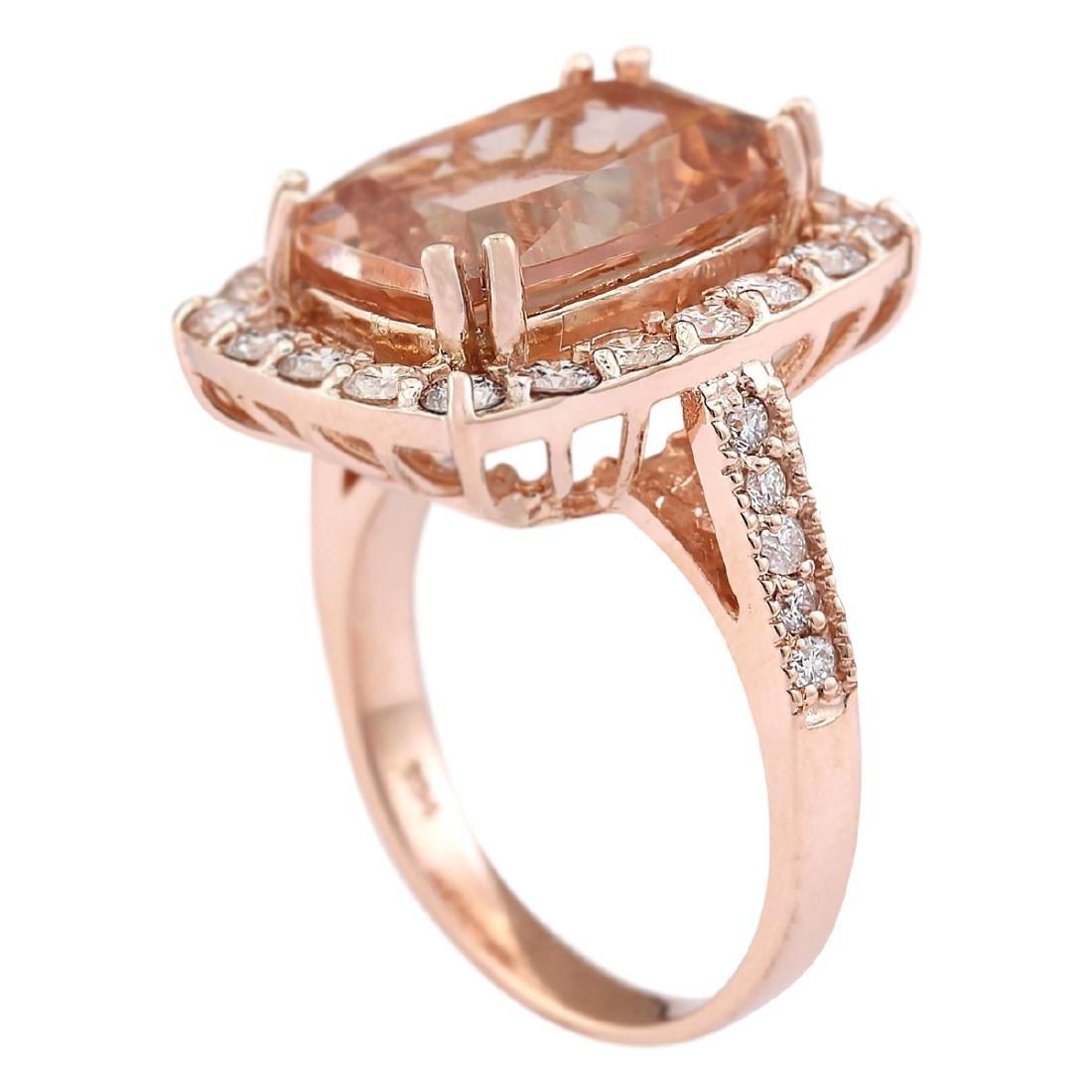 8.31 CTW Natural Morganite And Diamond Ring In 18K Rose - 3