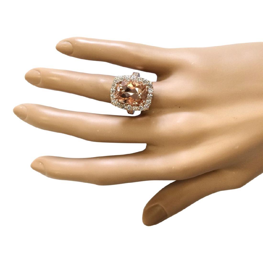 8.31 CTW Natural Morganite And Diamond Ring In 18K Rose - 4