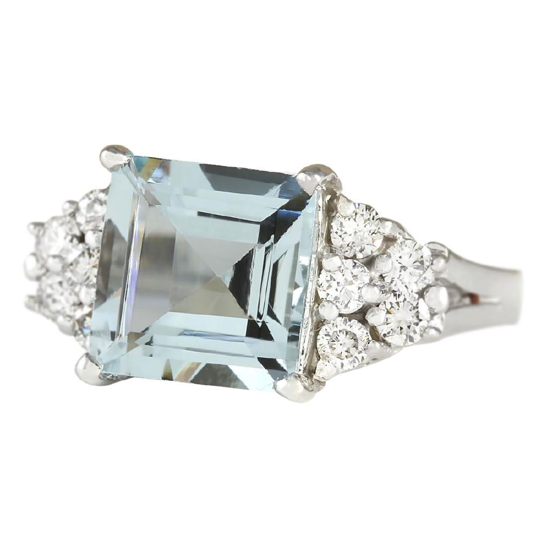 3.40 CTW Natural Aquamarine And Diamond Ring In 18K - 2