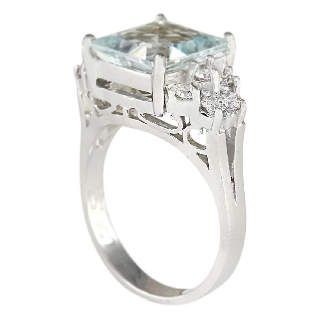 3.40 CTW Natural Aquamarine And Diamond Ring In 18K - 3