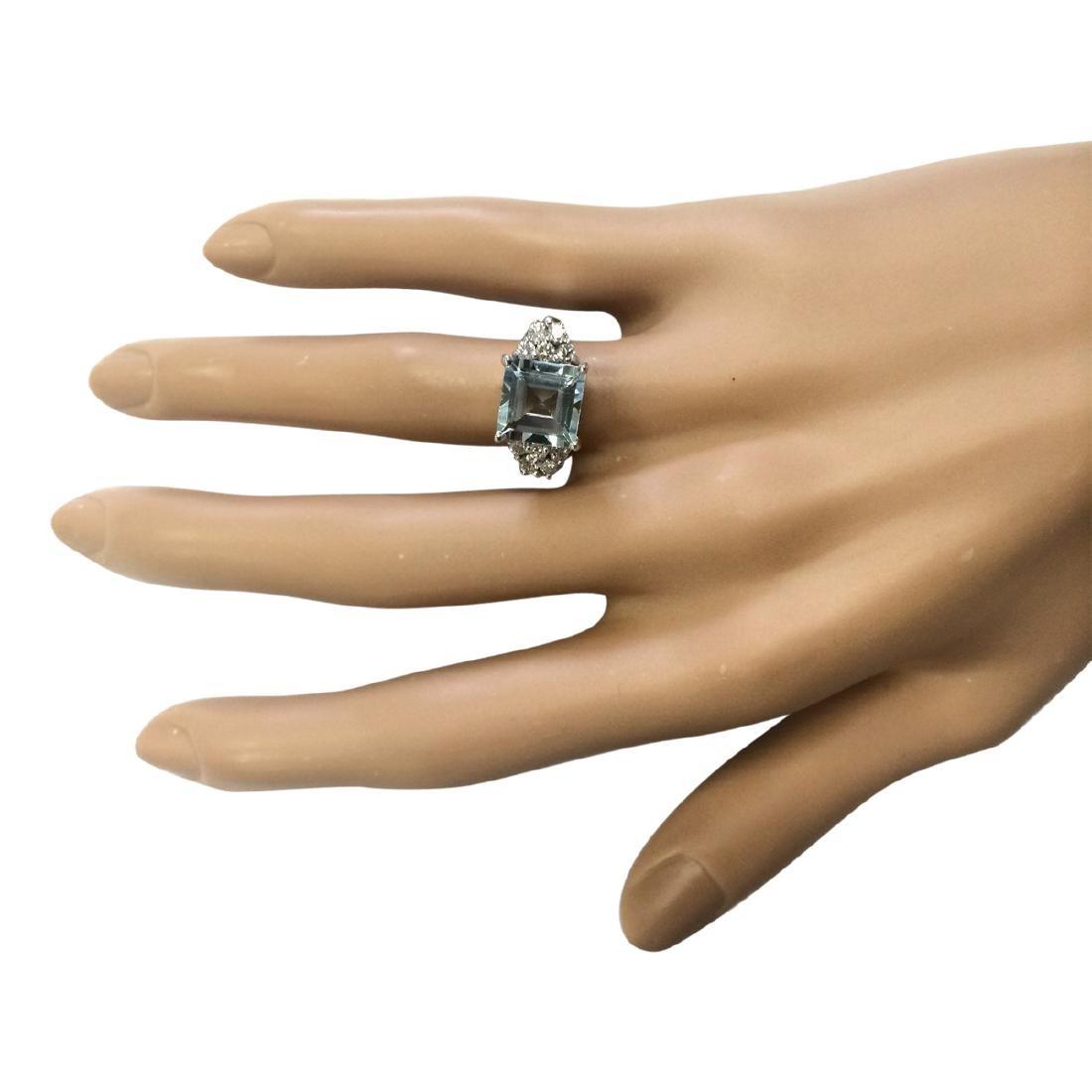 3.40 CTW Natural Aquamarine And Diamond Ring In 18K - 4