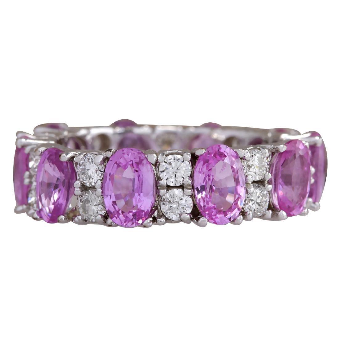 7.71CTW Natural Pink Ceylon Sapphire Diamond Ring 18K