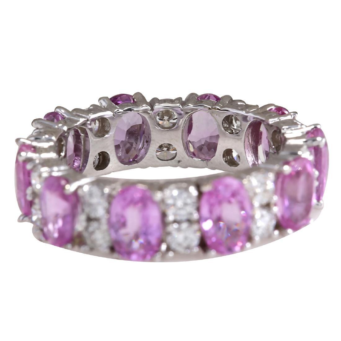 7.71CTW Natural Pink Ceylon Sapphire Diamond Ring 18K - 2