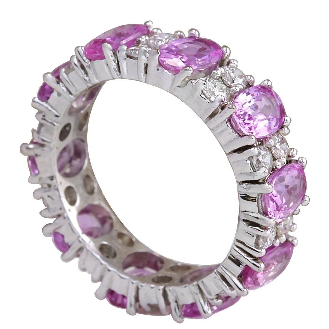 7.71CTW Natural Pink Ceylon Sapphire Diamond Ring 18K - 3