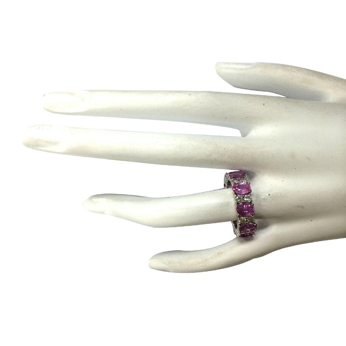7.71CTW Natural Pink Ceylon Sapphire Diamond Ring 18K - 4