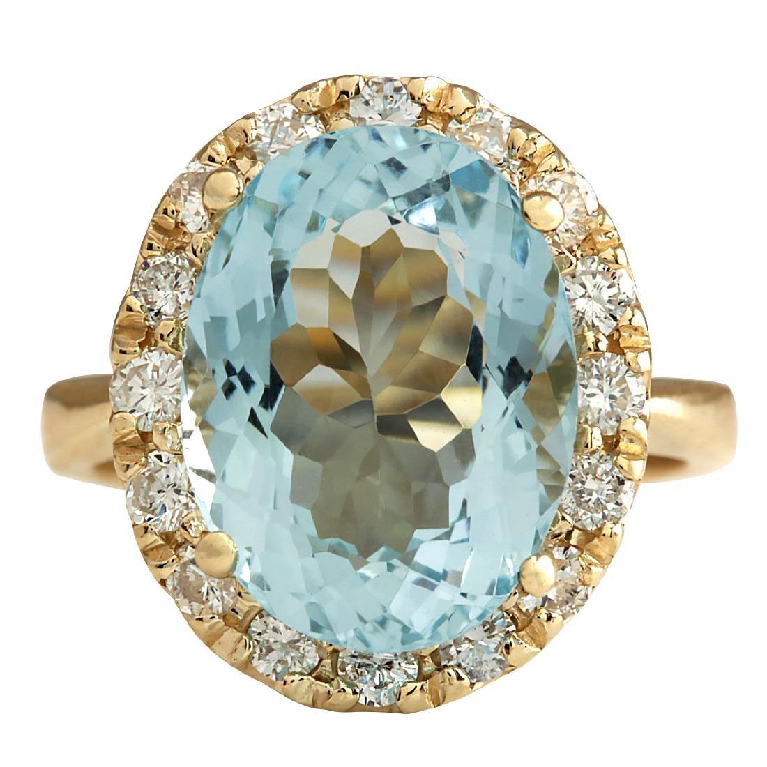 5.32CTW Natural Aquamarine And Diamond Ring 18K Solid