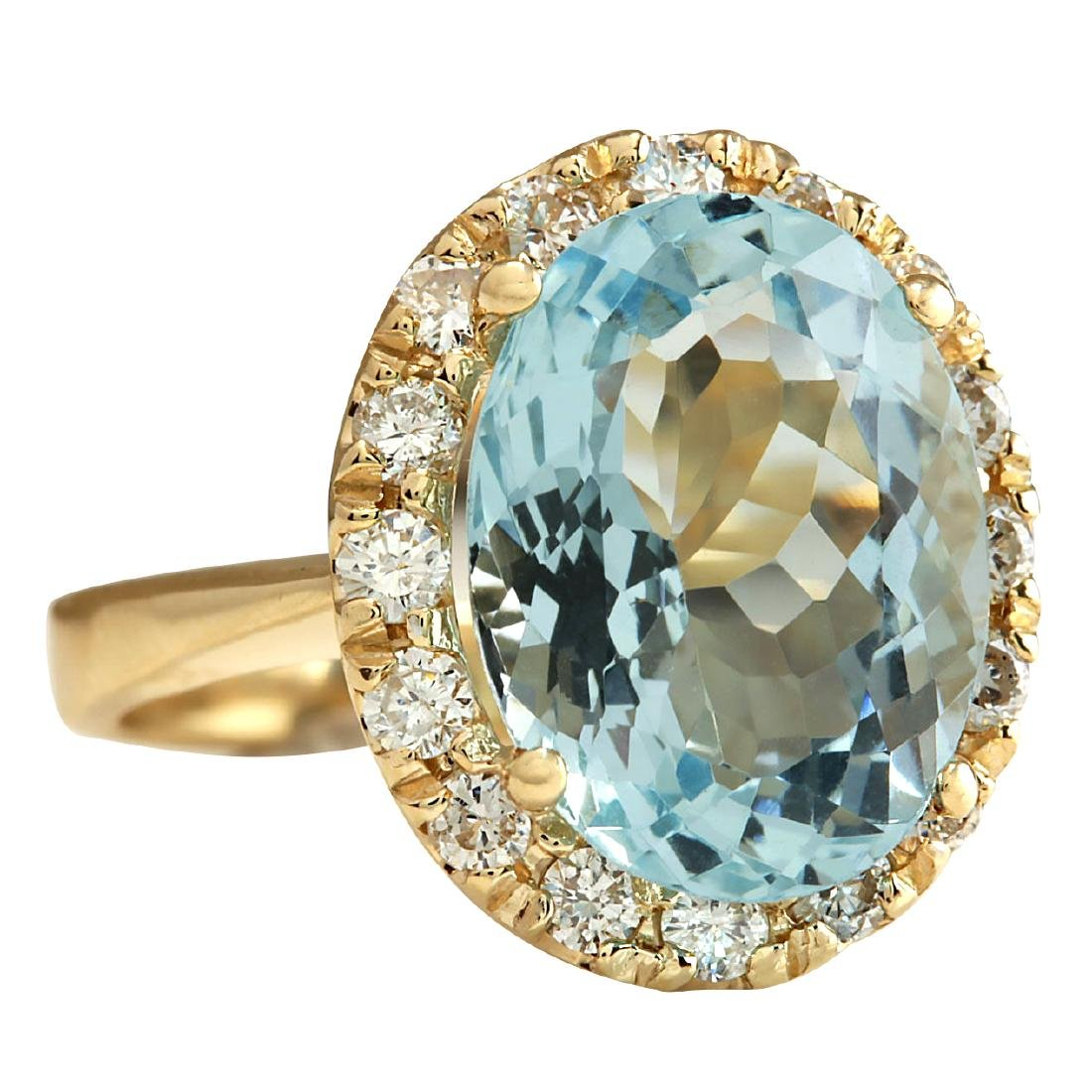 5.32CTW Natural Aquamarine And Diamond Ring 18K Solid - 2
