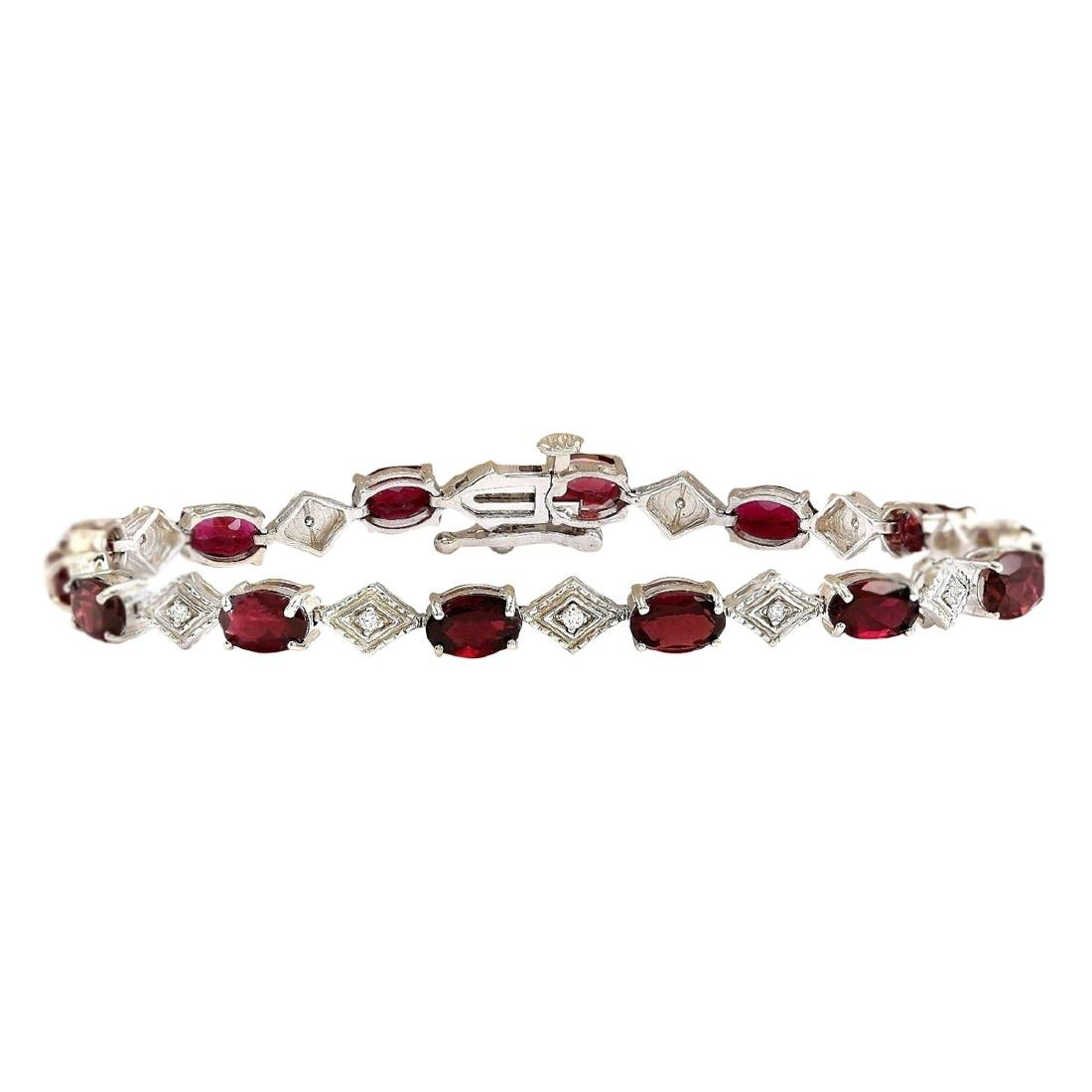 6.24 CTW Natural Red Tourmaline And Diamond Bracelet In