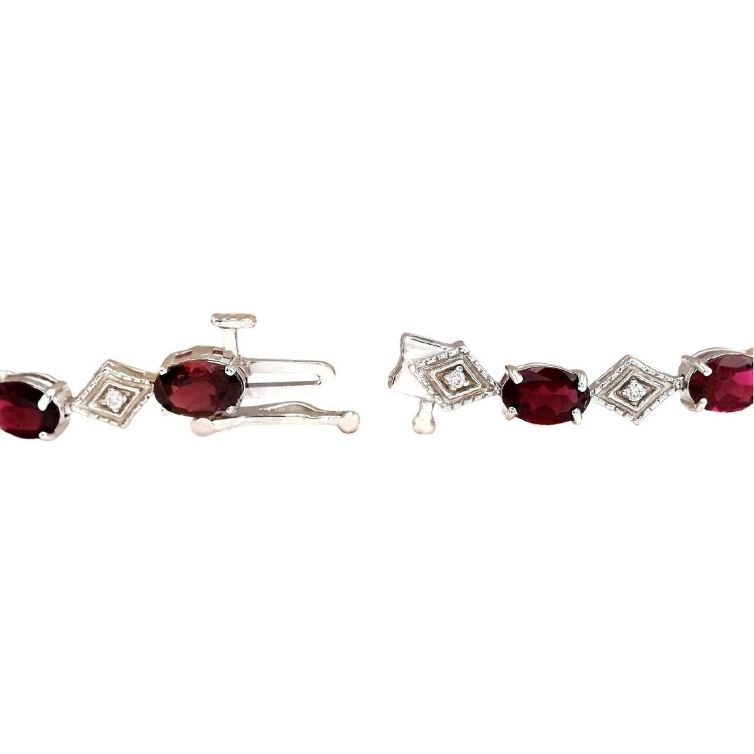 6.24 CTW Natural Red Tourmaline And Diamond Bracelet In - 2