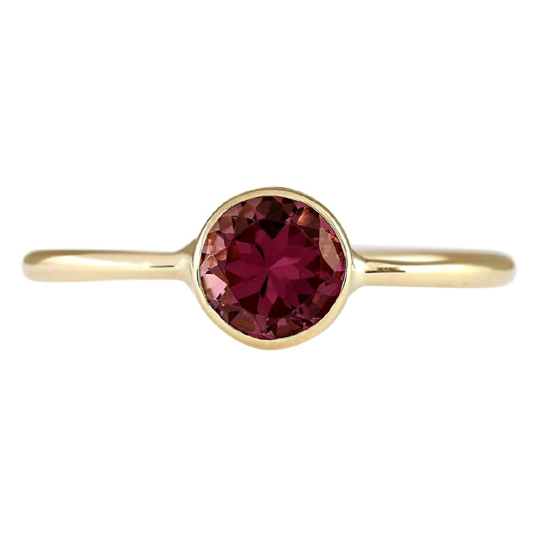 .80 CTW Natural Pink Tourmaline Ring In 18K Yellow Gold