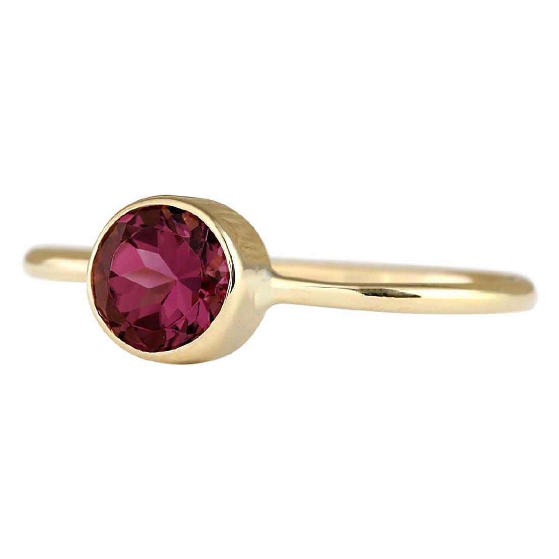 .80 CTW Natural Pink Tourmaline Ring In 18K Yellow Gold - 2