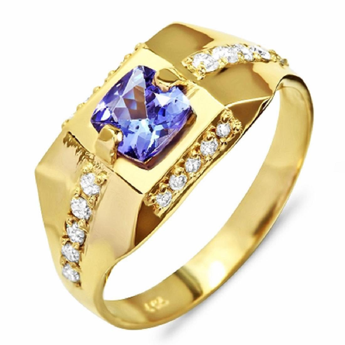 1.62 Carat Natural Tanzanite 18K Solid Yellow Gold