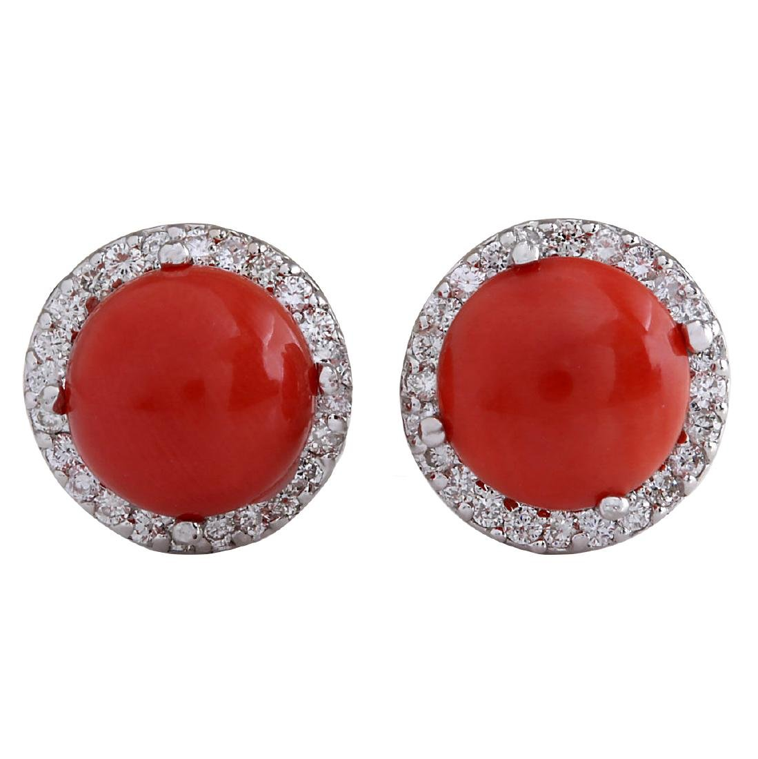 5.89CTW Natural Red Coral And Diamond Earrings 18K