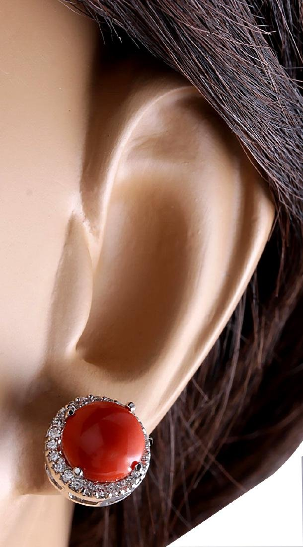 5.89CTW Natural Red Coral And Diamond Earrings 18K - 3