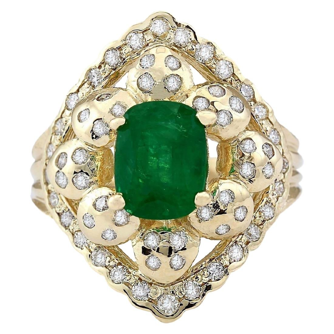 3.12 CTW Natural Emerald And Diamond Ring In 18K Yellow