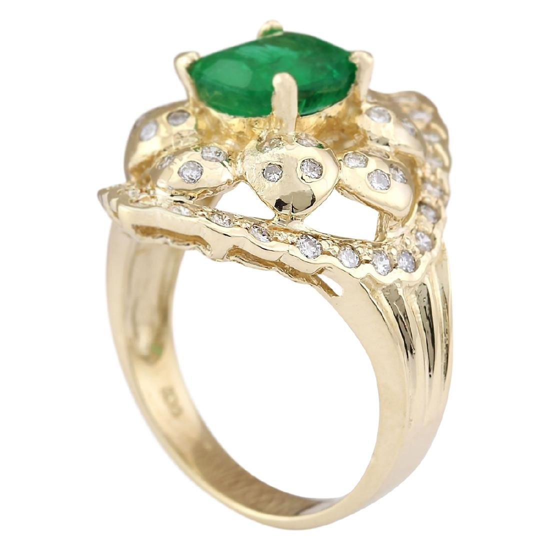 3.12 CTW Natural Emerald And Diamond Ring In 18K Yellow - 3