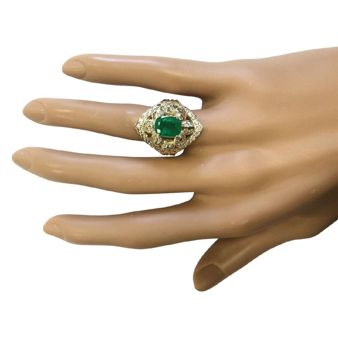 3.12 CTW Natural Emerald And Diamond Ring In 18K Yellow - 4