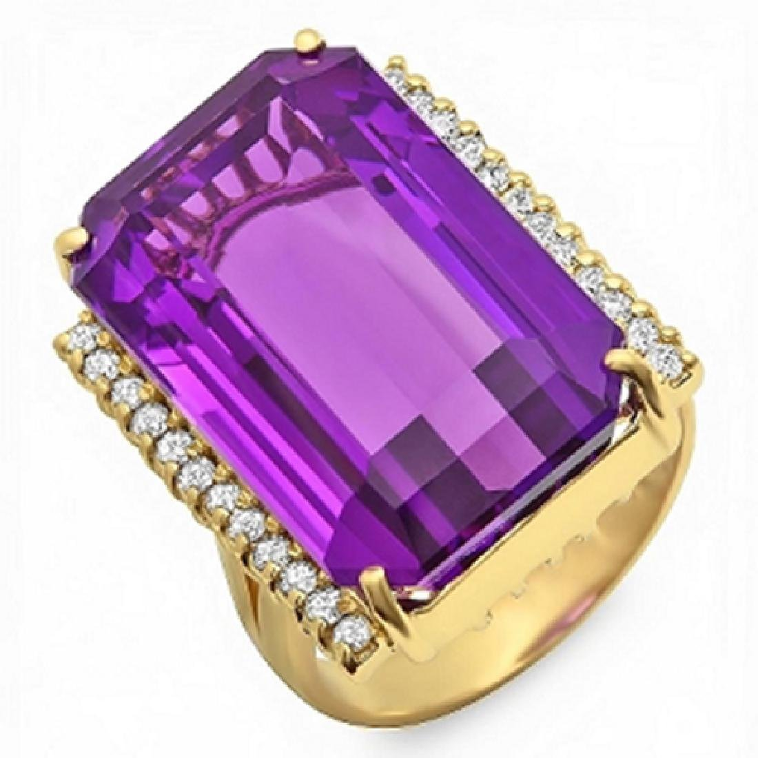 35.60 Carat Natural Amethyst 18K Solid Yellow Gold