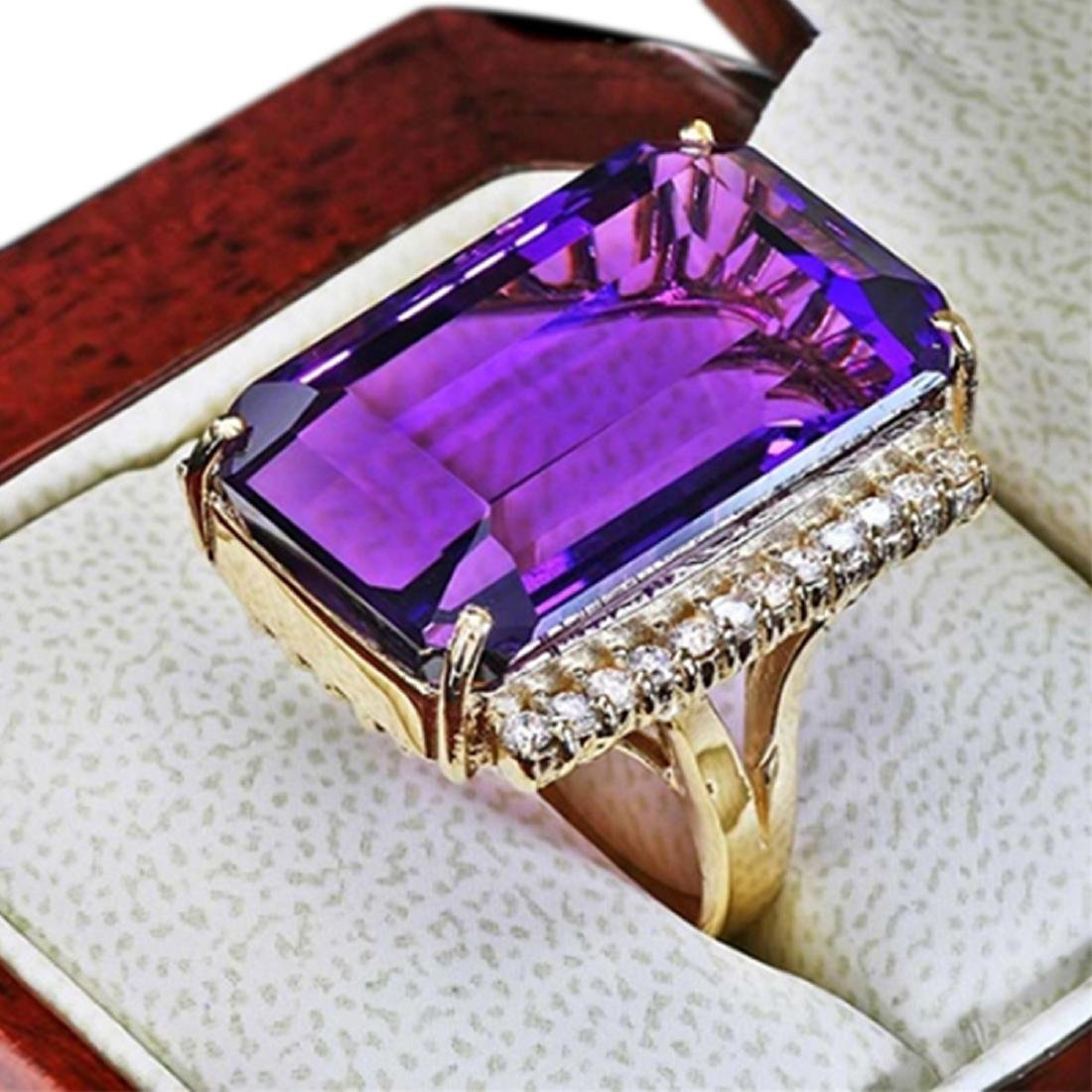 35.60 Carat Natural Amethyst 18K Solid Yellow Gold - 2