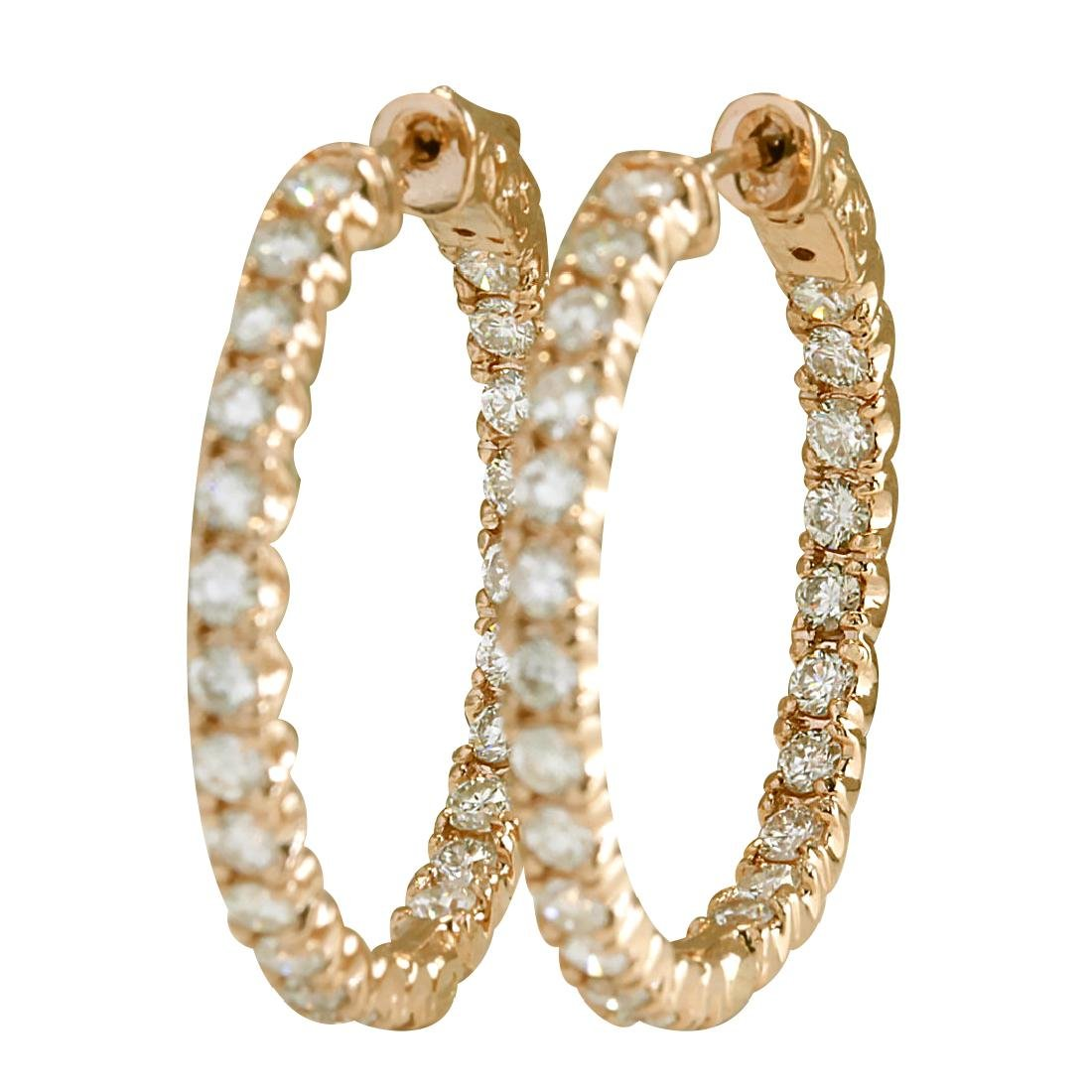 2.20CTW Natural Diamond Hoop Earrings 18K Solid Rose