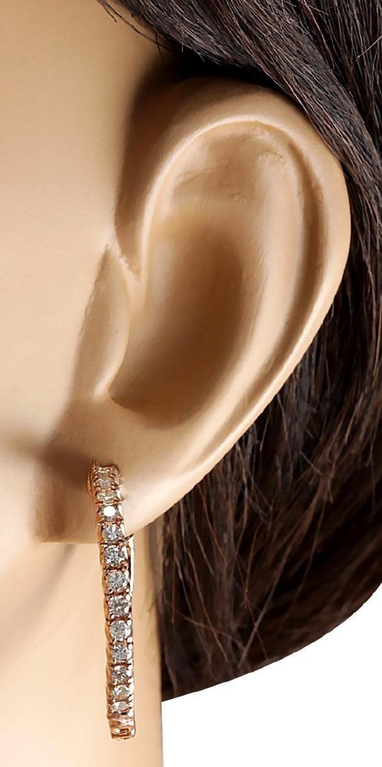 2.20CTW Natural Diamond Hoop Earrings 18K Solid Rose - 3