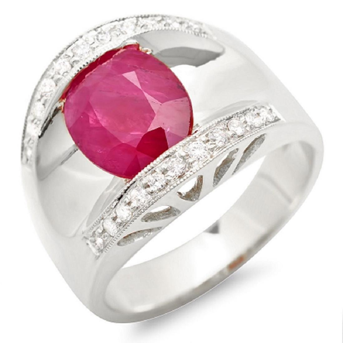 2.87 Carat Natural Ruby 18K Solid White Gold Diamond