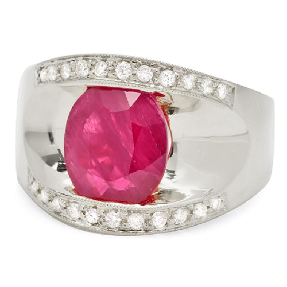 2.87 Carat Natural Ruby 18K Solid White Gold Diamond - 2