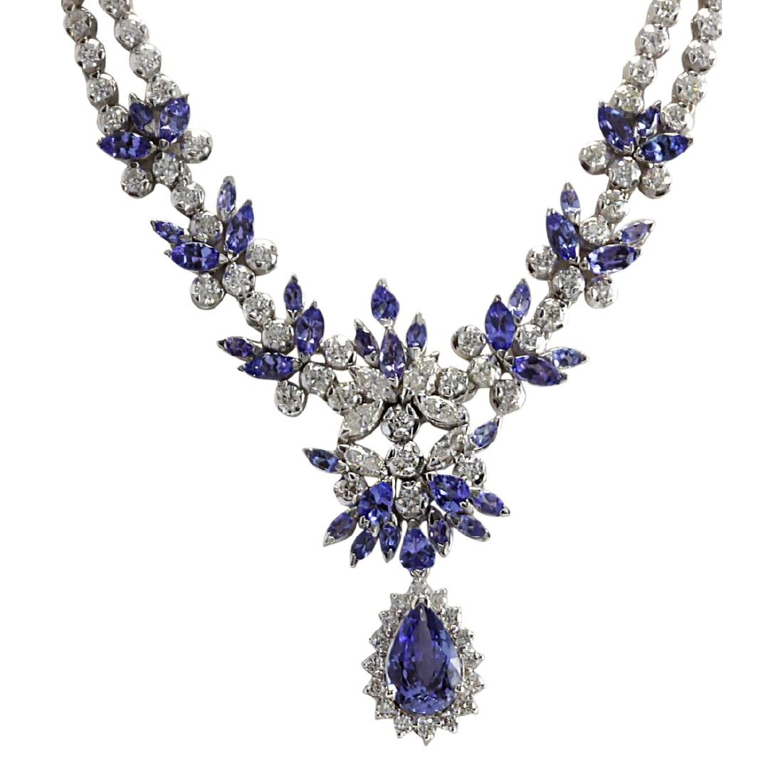 19.42 CTW Natural Tanzanite And Diamond Necklace In 18K