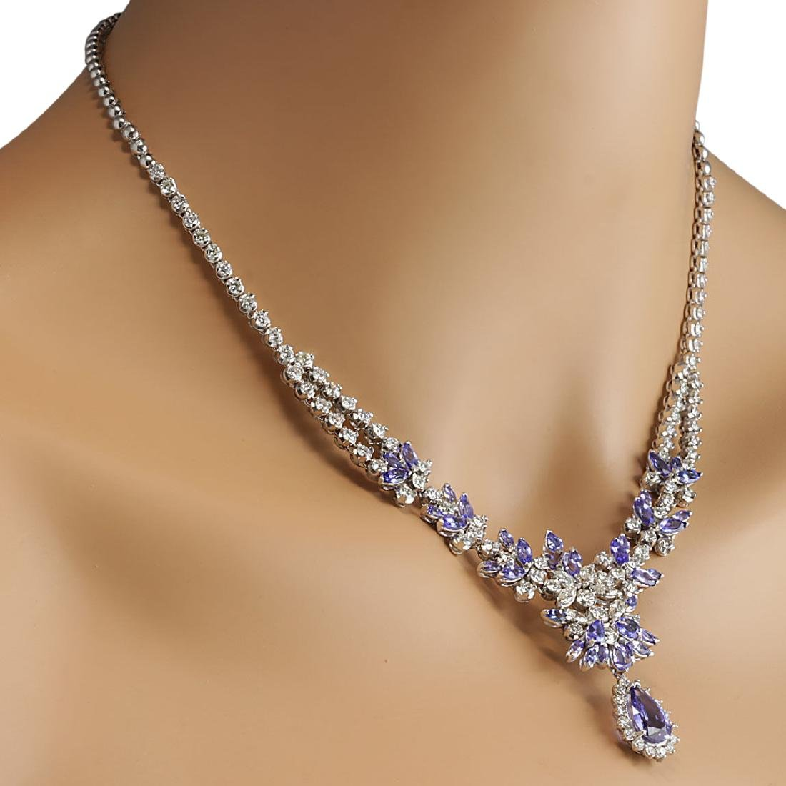 19.42 CTW Natural Tanzanite And Diamond Necklace In 18K - 4