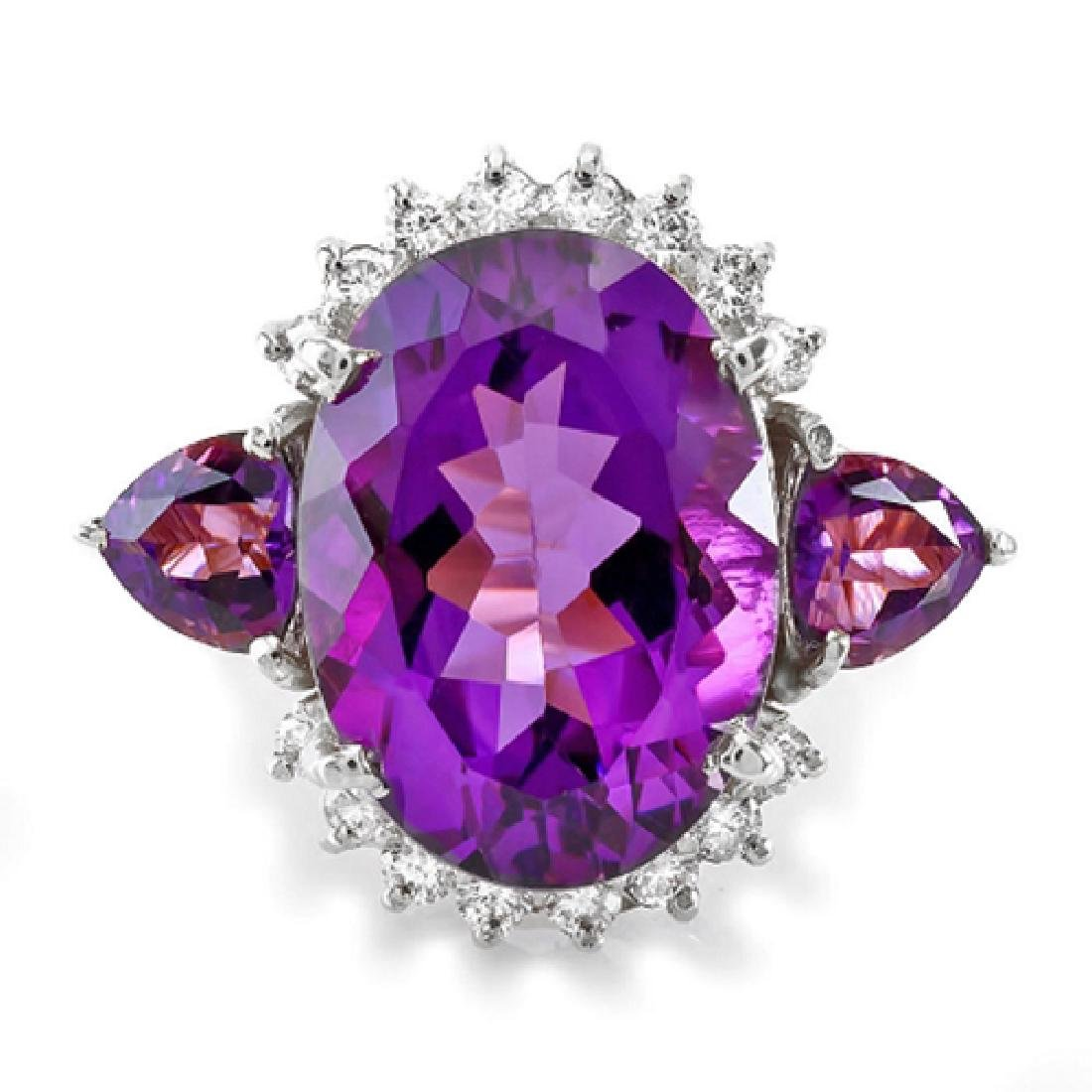 12.60 Carat Natural Amethyst 18K Solid White Gold