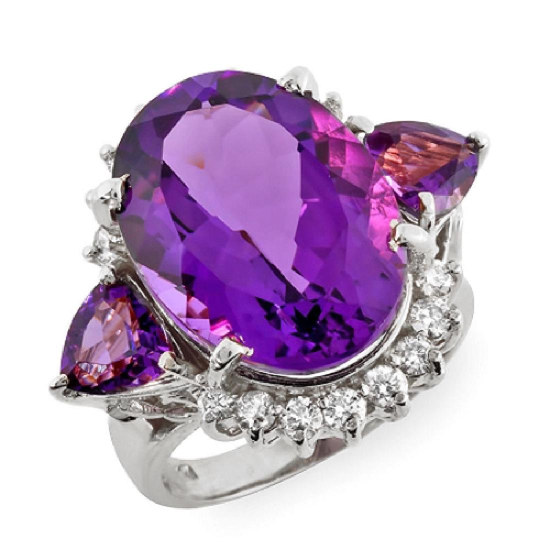 12.60 Carat Natural Amethyst 18K Solid White Gold - 2