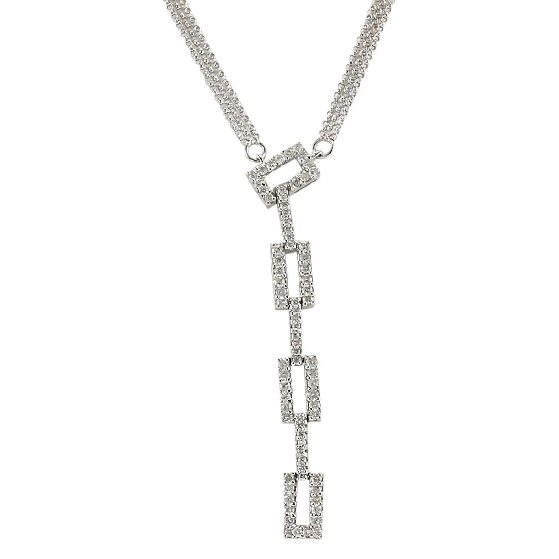 1.04 CTW Natural Diamond Necklace In 18K White Gold