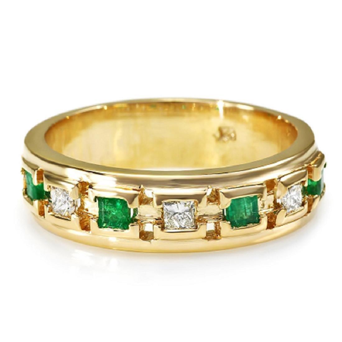 Mens 1.00 Carat Natural Emerald 18K Solid Yellow Gold