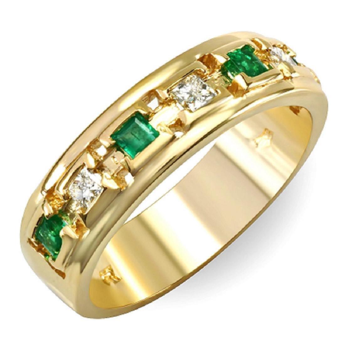 Mens 1.00 Carat Natural Emerald 18K Solid Yellow Gold - 2