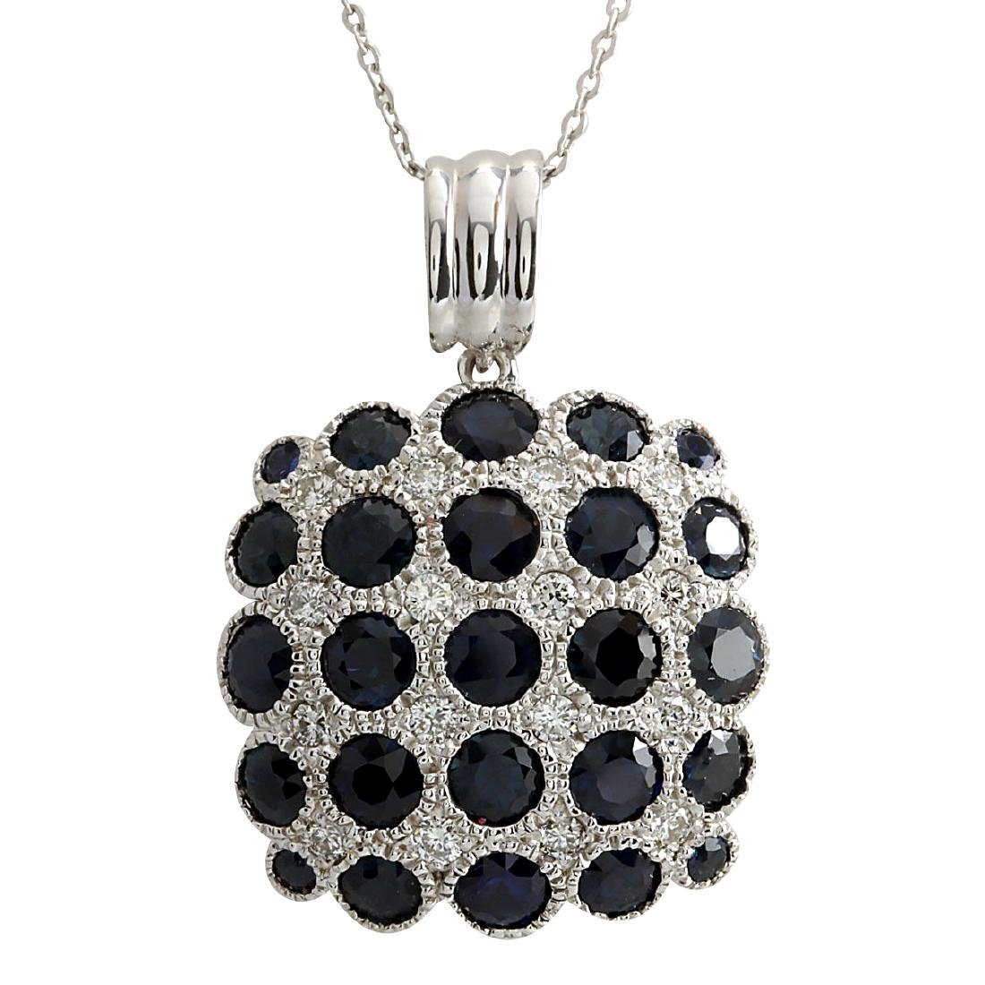 5.23CTW Natural Sapphire And Diamond Pendant In 18K