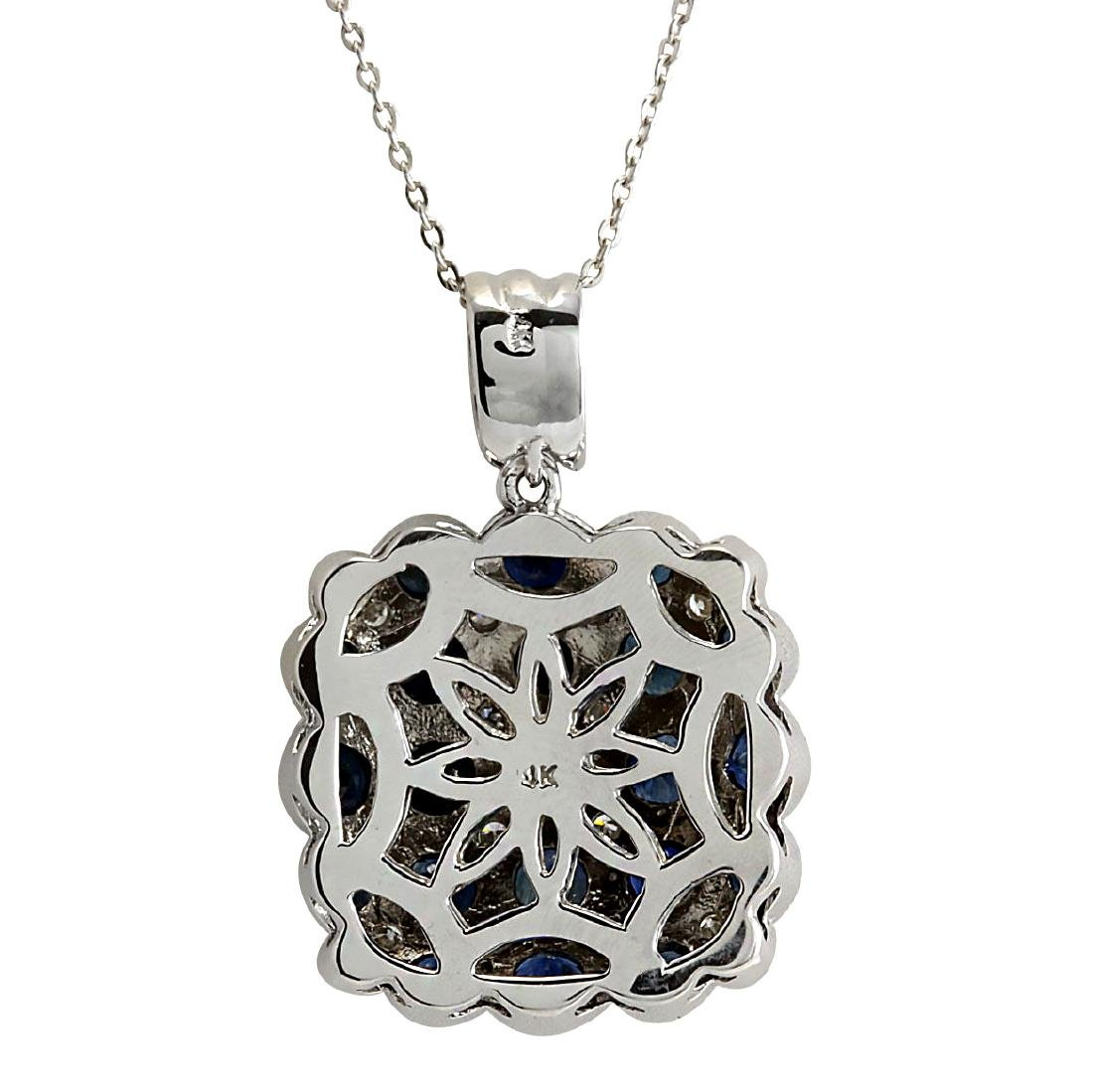 5.23CTW Natural Sapphire And Diamond Pendant In 18K - 2