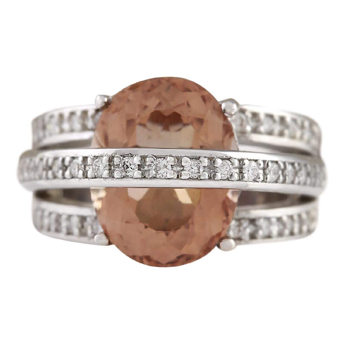 8.05 CTW Natural Morganite And Diamond Ring 18K Solid