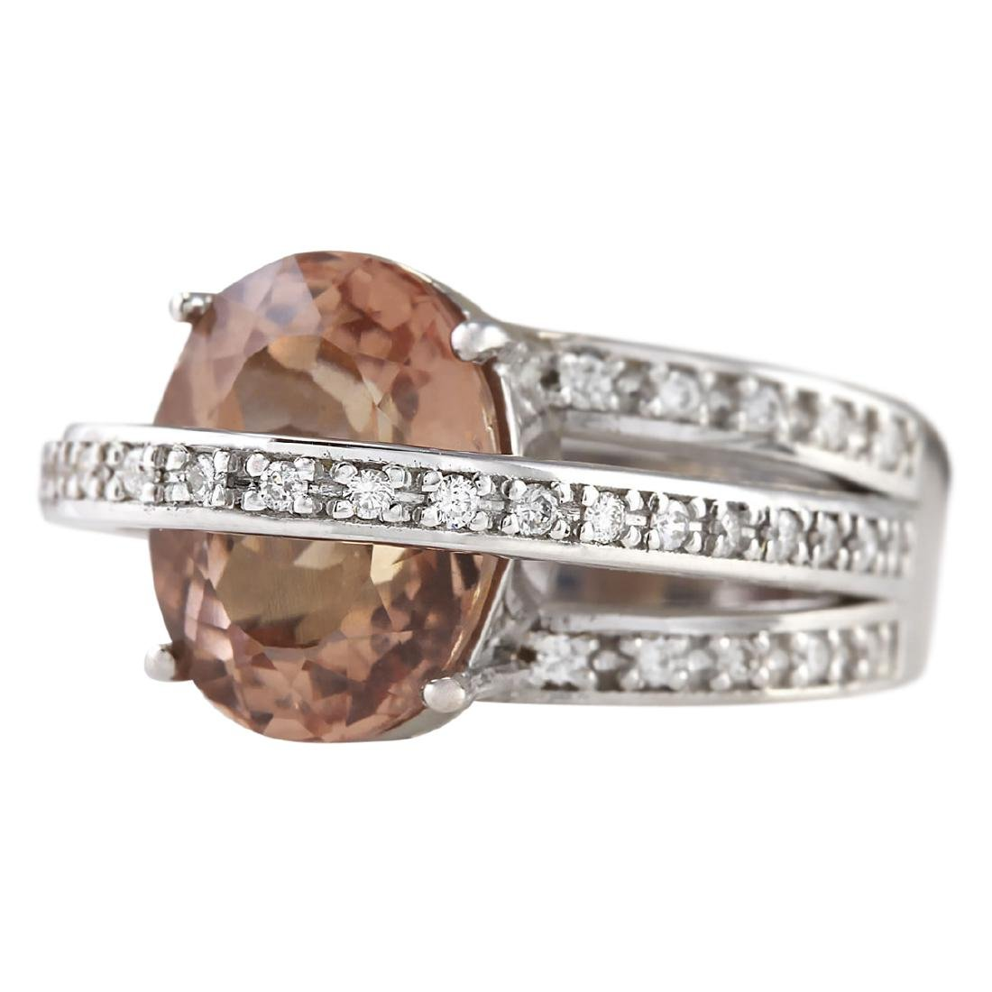 8.05 CTW Natural Morganite And Diamond Ring 18K Solid - 2