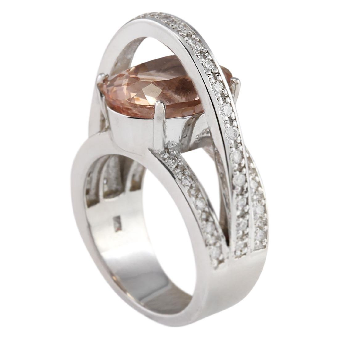 8.05 CTW Natural Morganite And Diamond Ring 18K Solid - 3