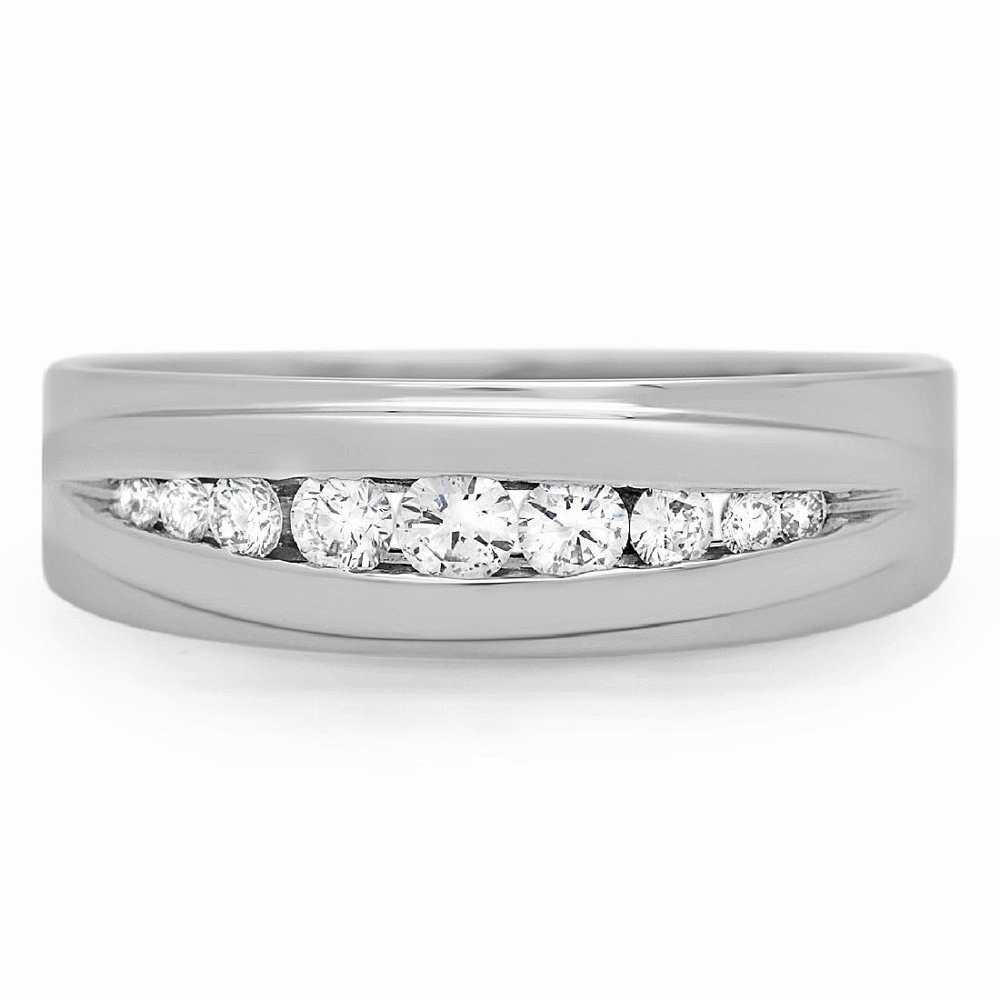 Mens 0.32 Carat Natural Diamond 18K Solid White Gold