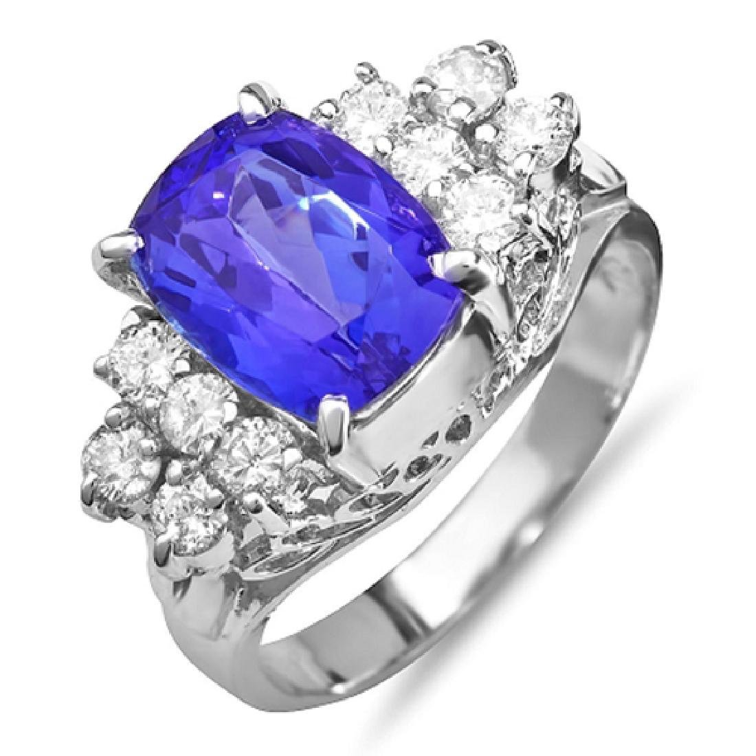 4.31 Carat Natural Tanzanite 18K Solid White Gold