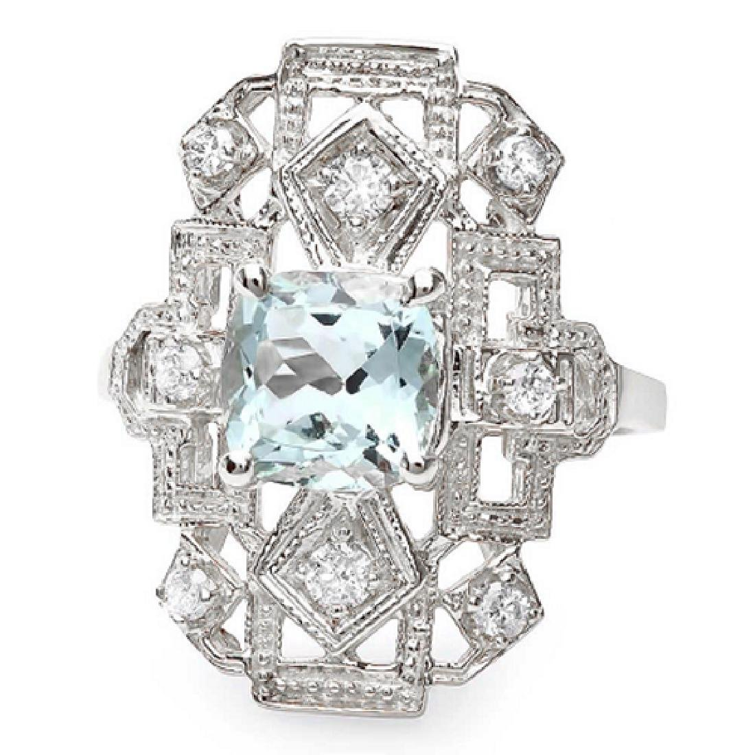 1.70 Carat Natural Aquamarine 18K Solid White Gold