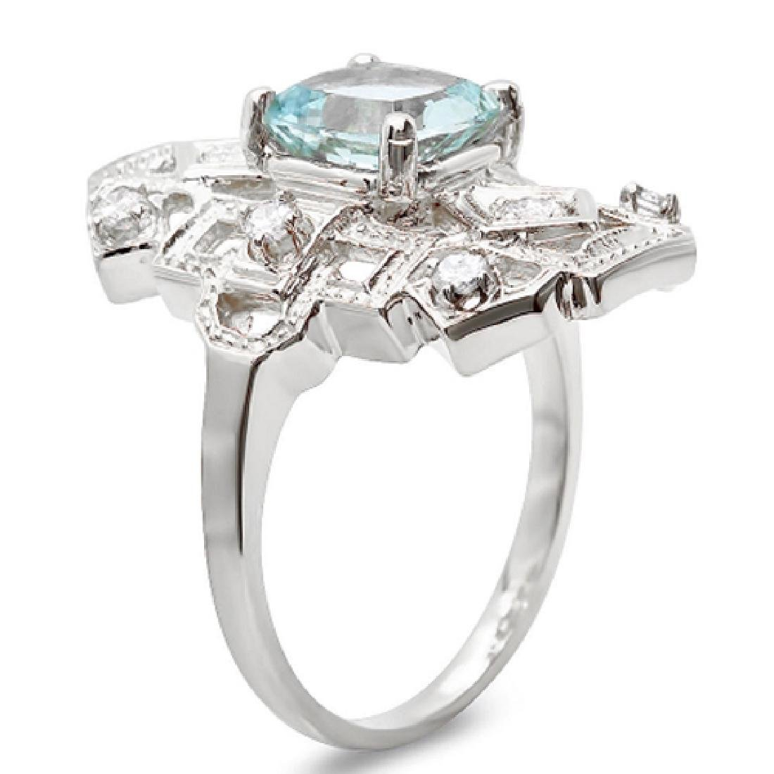 1.70 Carat Natural Aquamarine 18K Solid White Gold - 2
