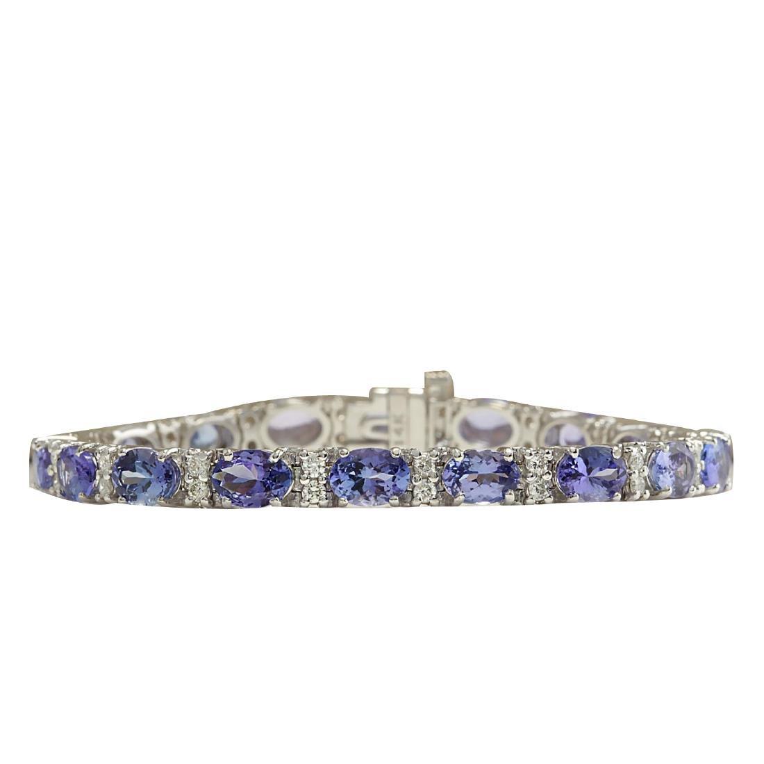 15.95CTW Natural Tanzanite And Diamond Bracelet In 18K