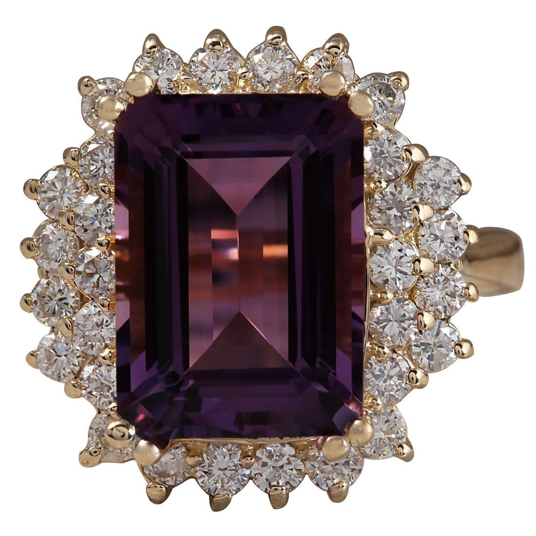 6.53CTW Natural Amethyst And Diamond Ring In 18K Solid