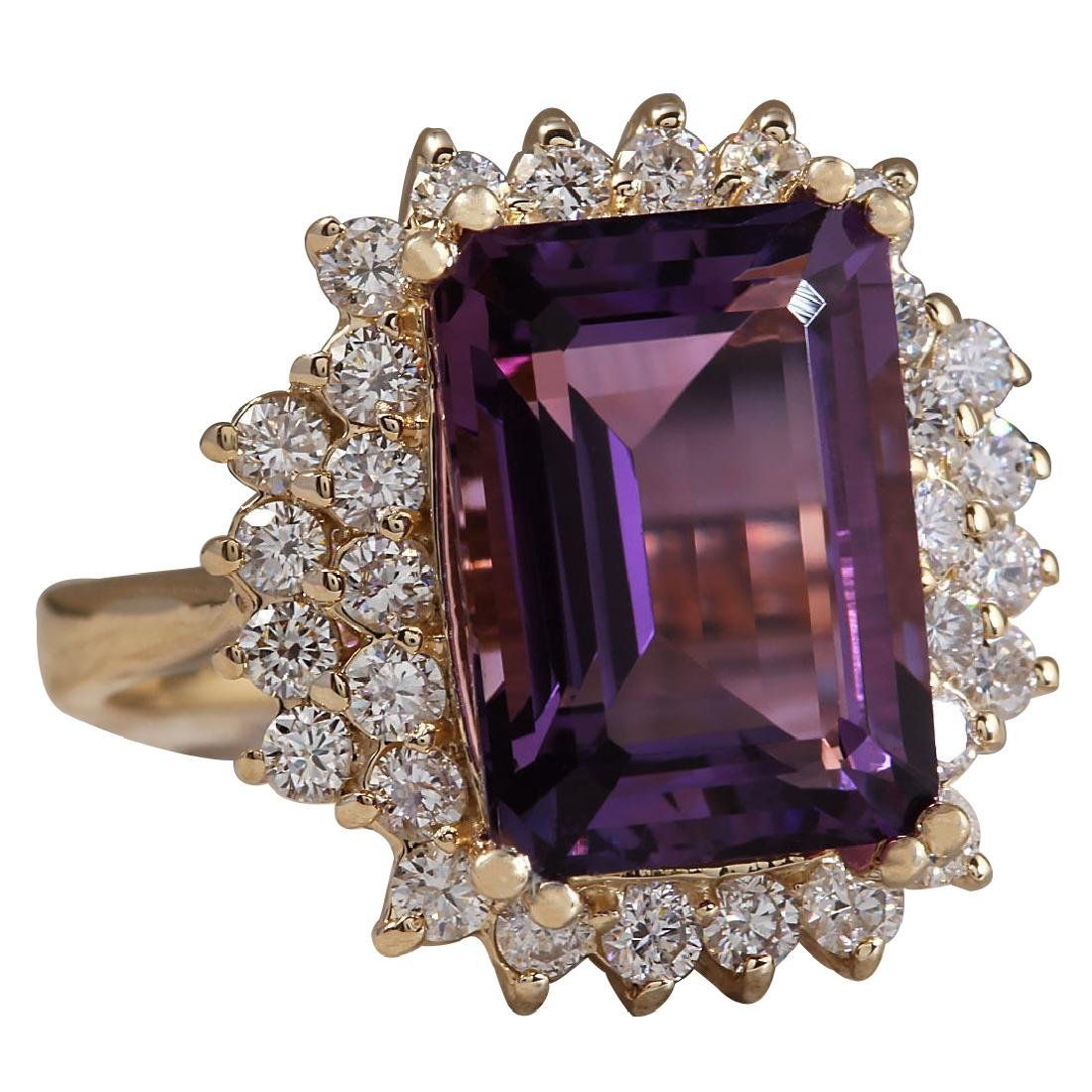 6.53CTW Natural Amethyst And Diamond Ring In 18K Solid - 2