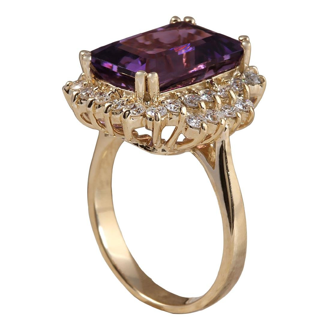 6.53CTW Natural Amethyst And Diamond Ring In 18K Solid - 3