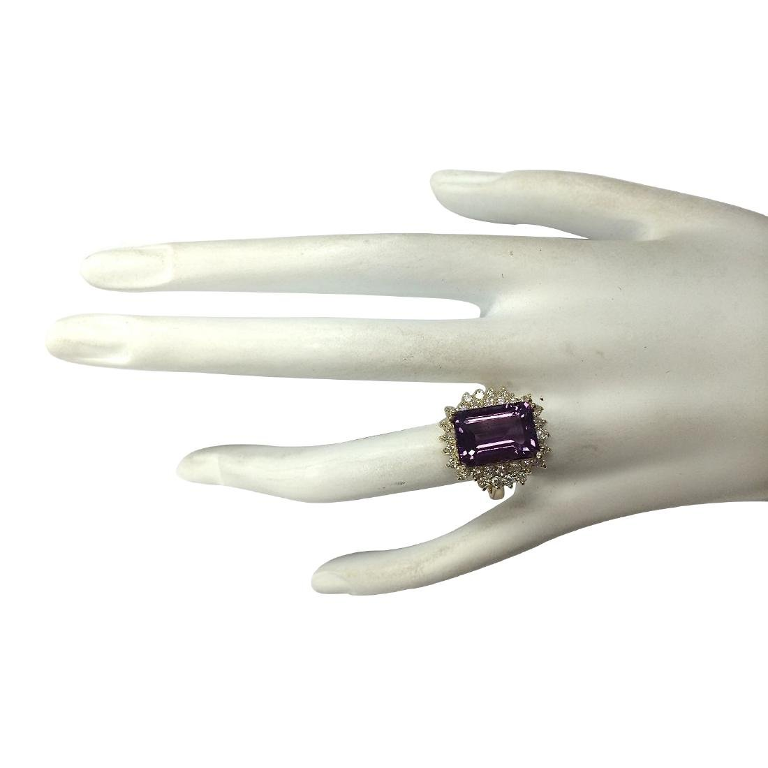 6.53CTW Natural Amethyst And Diamond Ring In 18K Solid - 4
